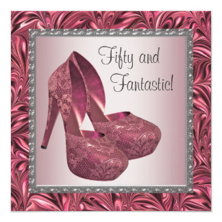 High Heel Shoe Womans Pink 50th Birthday 13 Cm X 13 Cm Square Invitation Card