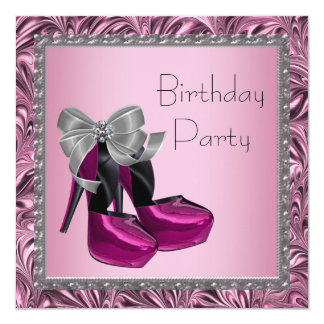 High Heel Shoes Hot Pink Black Birthday Party 13 Cm X 13 Cm Square Invitation Card