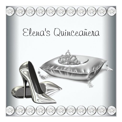 High Heel Shoes Princess Tiara White Quinceanera 13 Cm X 13 Cm Square Invitation Card