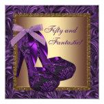 High Heel Shoes Womans Purple Birthday Party Custom Invites