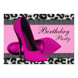 High Heels and Hot Pink Leopard Birthday Party Card