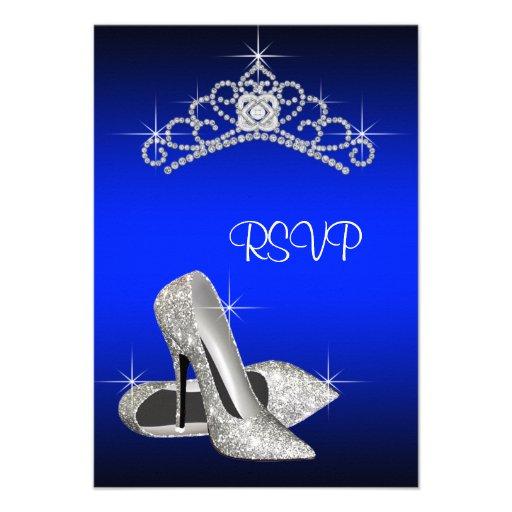 High Heels Tiara Royal Blue Quinceanera RSVP Custom Invitation