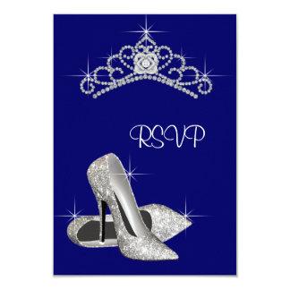 "High Heels Tiara Royal Blue Quinceanera RSVP 3.5"" X 5"" Invitation Card"