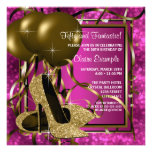 High Heels Womans Hot Pink Brithday Party Personalised Invitation