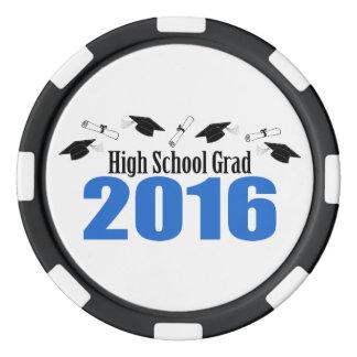 High School Grad 2016 Caps And Diplomas (Blue) Poker Chip Set