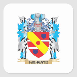 Highgate Coat of Arms - Family Crest Square Sticker