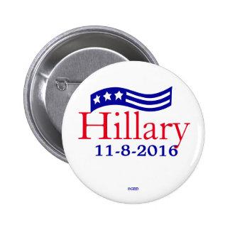 Hillary 11-8-2016 Stars Flag Election Day Reminder 6 Cm Round Badge