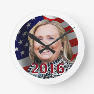 Hillary Clinton 2016 Round Clock