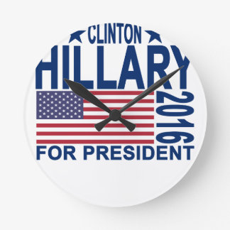 HILLARY CLINTON 2016 Tshirts.png Round Clock