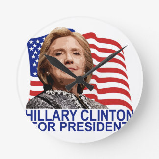 HILLARY CLINTON 2016 Tshirts ;'.png Round Clock