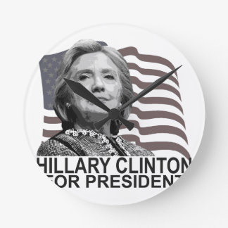 HILLARY CLINTON 2016 Tshirts ;,.png Round Clock