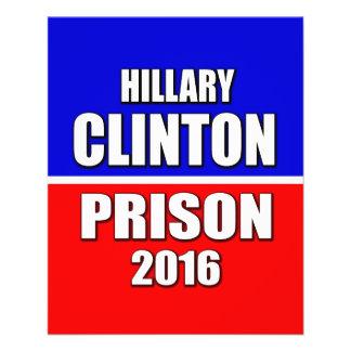 """""""HILLARY CLINTON FOR PRISON 2016"""" 11.5 CM X 14 CM FLYER"""