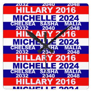 Hillary, Michelle, Chelsea, Sasha, Malia Square Wall Clock