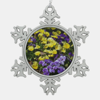 Hillside of Purple and Yellow Pansies Pewter Snowflake Decoration