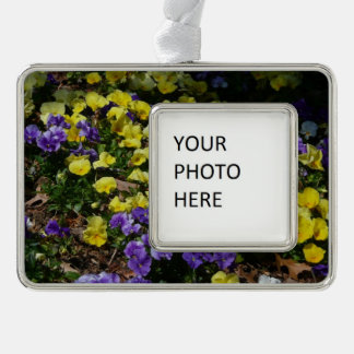 Hillside of Purple and Yellow Pansies Silver Plated Framed Ornament