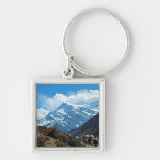 Himalaya Mount Everest India Nepal Travel Summer Silver-Colored Square Key Ring