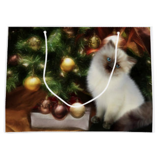 Himalayan kitten Christmas Large Gift Bag