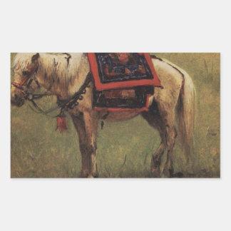 Himalayan ponies by Vasily Vereshchagin Rectangular Sticker