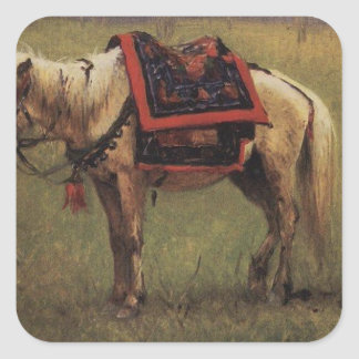 Himalayan ponies by Vasily Vereshchagin Square Sticker