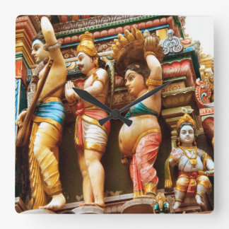 Hindu temple figures square wall clock