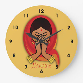 Hindu Woman with Head Scarf in Namaste Greeting Large Clock