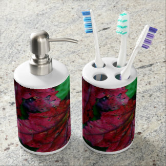 Hint of Autumn Soap Dispenser And Toothbrush Holder