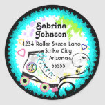 Hip and Colourful Roller Skate Address Label Round Sticker