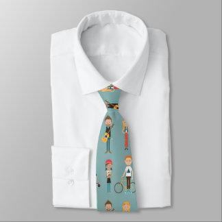 Hip Cartoon People Illustrations Pattern (Blue) Tie