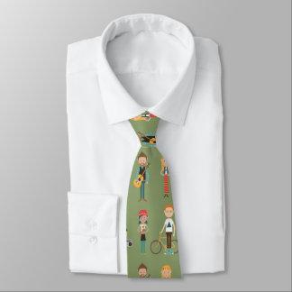 Hip Cartoon People Illustrations Pattern (Green) Tie
