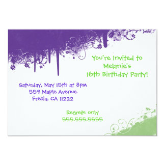Hip Hop Grunge Purple Green Invitation