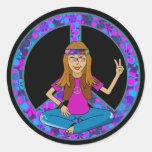 Hippie Chick Round Sticker