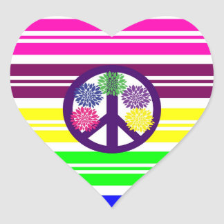 Hippie Flower Power Peace Sign on Rainbow Stripes Heart Sticker