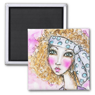 Hippie Girl Boho Red Curly Hair Illustration Dots Magnet