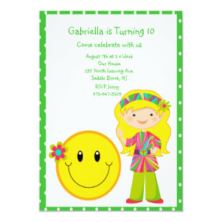 Hippie Girl with Smiley Face Girls Invite