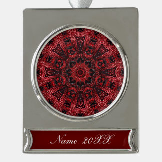 hippie moroccan maroon wine burgundy bohemian silver plated banner ornament