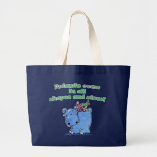 Hippo and Bird Friends Large Tote Bag