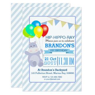 Hippo Balloons Adventure 1st Birthday Bash Card
