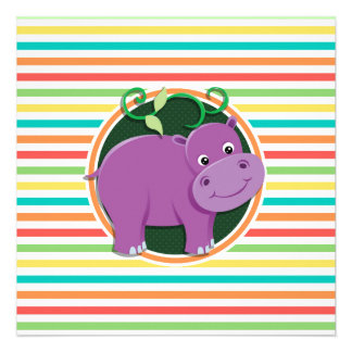 Hippo; Bright Rainbow Stripes Announcements