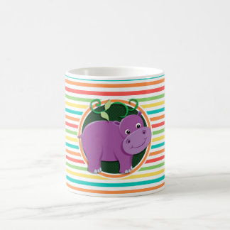 Hippo Bright Rainbow Stripes Coffee Mugs