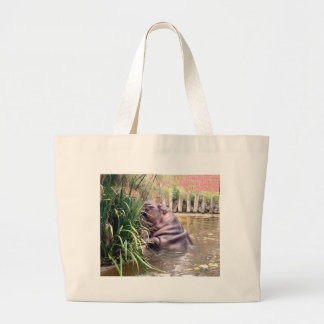 Hippo_Determination,_ Large Tote Bag