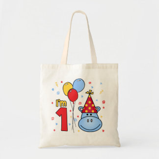 Hippo Face First Birthday Tote Bag