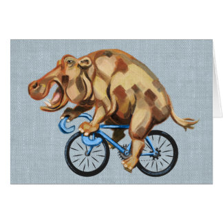Hippo On A Bicycle Card