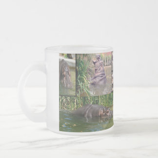 Hippo,_Photo_Collage_Frosted_Glass_Mug. Frosted Glass Coffee Mug