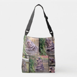 Hippo,_Photo_Collage,_Full_Print_Cross_Body_Bag Crossbody Bag