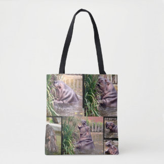 Hippo,_Photo_Collage,_Full_Print_Tote_Shopping_Bag Tote Bag