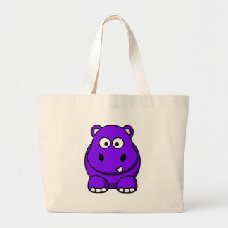 Hippo Purple Large Tote Bag