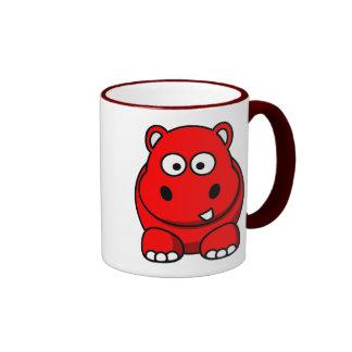 Hippo Red Ringer Mug