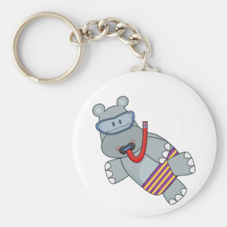 Hippo Snorkeler T-shirts and Gifts Key Ring