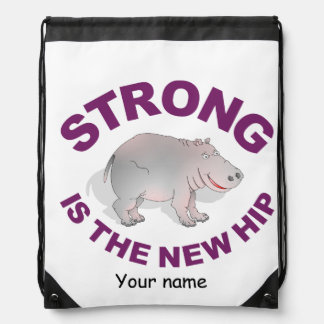 Hippo, Strong is the new hip Drawstring Bag