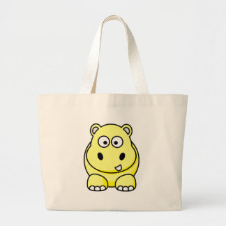 Hippo Yellow Large Tote Bag
